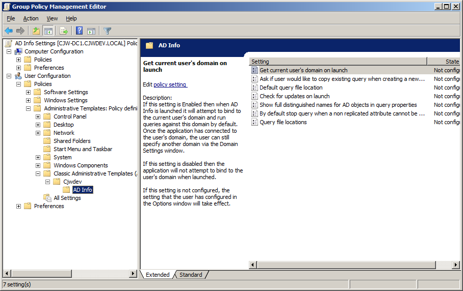 Cjwdev | AD Info Group Policy Settings